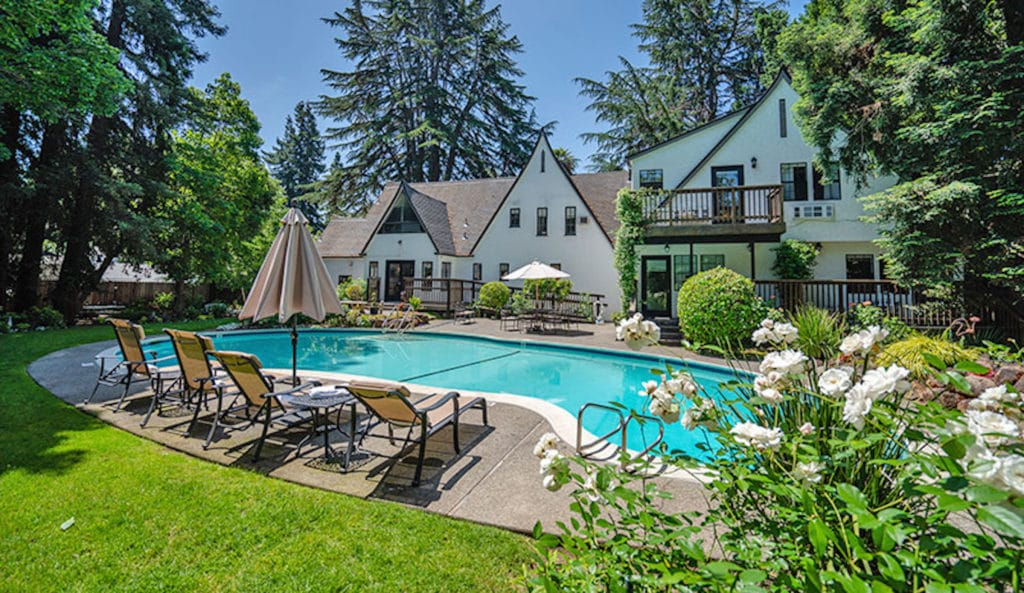 Relax poolside at our Bed and Breakfast after your Napa Valley Bike Tours